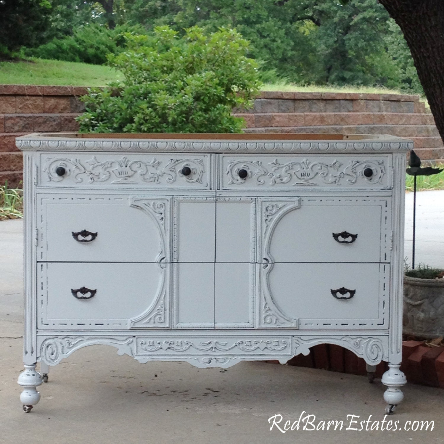 Bathroom Vanity Custom Converted From Antique Dresser Painted Dresser Shabby Chic Dresser 28 To