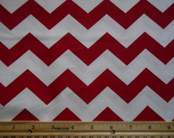 Red Chevron cotton fabric by the yard