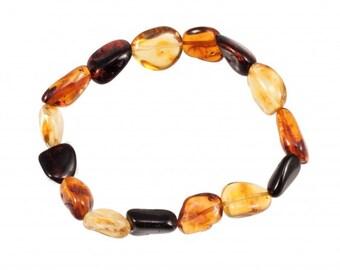 Raw Natural Multi Color Amber Bracelet Baltic Amber