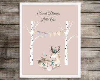 Woodland Nursery Art, Sweet Dreams Little One, Digital Download, Nursery Decor, Deer Decor Art, Home Decor, Art and Collectables, The Tribe