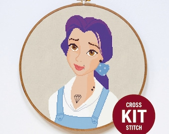 Belle Cross Stitch Kit, Disney Princess Cross Stitch Kit, Beauty and the Beast Easy Cross Stitch Kit