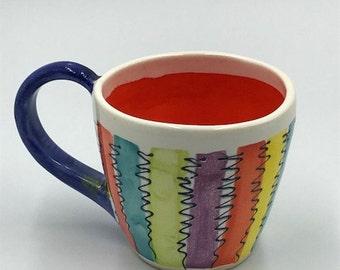 Colorful Coffee/Tea Mug, Handmade, Ceramic, Pottery, Coffee, Tea