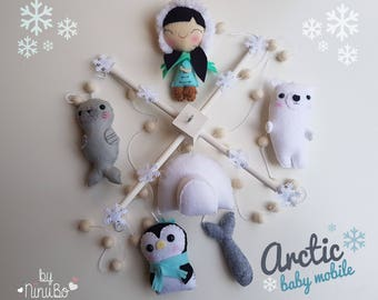 Arctic Baby Mobile - Crib Cot Mobile - White Mobile - woodland mobile - Eskimo - Polar Bear - Penguin - Seal - Igloo & snow