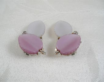 Lisner White/Purple Leaf Clip On Earrings