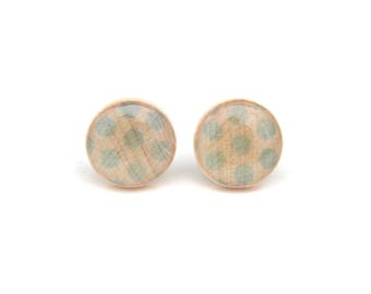 Light Blue Polka Dot Stud Earrings, Hypoallergenic earrings