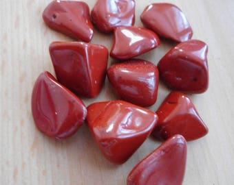 Red Jasper Tumbled Stone - 10 Crystals 15mm-17mm