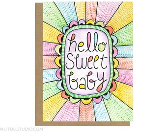 Hello Sweet Baby Card, Baby Shower Card, New Baby Card, Baby Congratulations, Baby Girl, Cute Baby Card, Baby Congrats Baby Card