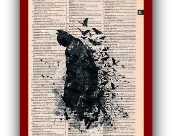 Batman Poster  Art Print: Upcycled  Dictionary Pages   Children's Wall Art  Super Hero Wall Decor Art Home Decor