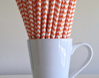Orange Chevron Paper Straws Party Supplies Party Decor Bar Cart Cake Pop Sticks Mason Jar Straws Graduation