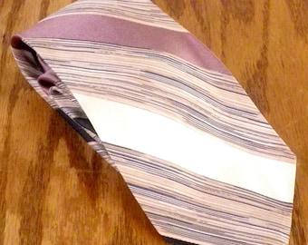 """vtg green/white/beige Men's Silk Striped Tie Space Dye Necktie 56"""" 3.25"""""""