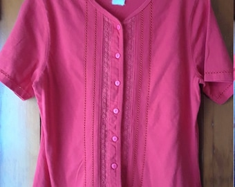 L.L.Bean Women's Blouse // Button down cardigan // Coral pink / Like-New / Short Sleeve Flower Detail