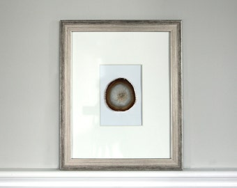 11x14 Framed Agate Slice // Multiple Colors Available // Gold Plated Agate Slice// Metallic Silver Frame