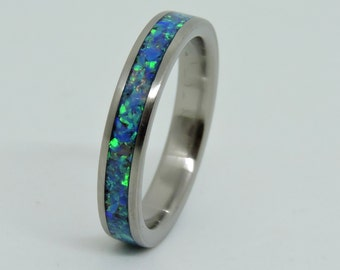 Titanium and lab Opal inlay, Women  Dainty Ring, Engagement Ring,