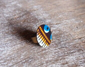 ethnic African wax and coconut ring