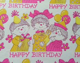 Vintage Gift Wrapping Paper - Juvenile -  Pink and Yellow Birthday Party  - Kids Happy Birthday Gift Wrap - 1 Unused Full Sheet Gift Wrap