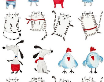 Dancing Animals - Ceramic Decals- Enamel Decal - Fusible Decal - Glass Fusing Decal ~ Waterslide Decal - 83556