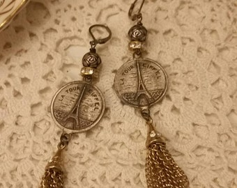 Upcycled Vintage Eiffel Tower  Dangle Earrings, ooak, Repurposed, Paris Earrings