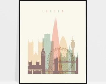 London print, poster, London wall art, London Skyline, London art, Travel poster, London Gift, Home Decor, ArtPrintsVicky