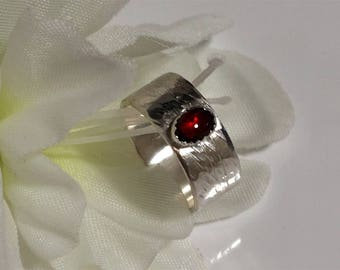 Garnet on Wide Sterling Band, Red Stone Ring Friendship, Promise, Engagement, Wedding