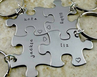 Puzzle Piece Keychains Set,  Custom Names, Best Friends Keychains Set, Bridesmaids Gifts, Your Choice of Number, Cousins Gifts