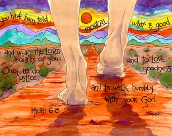 Micah 6 8 Scripture Art with Desert Path, Christian Gift for Lawyer, Businessman, Office Decor, Father's day gift, Law school graduation