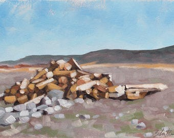 "Landscape Painting, Original Oil Painting, Contemporary Fine Art, Woodpile, Firewood - ""Spring Pile"""