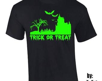 T-Shirt Trick Or Treat Halloween Costume Holidays Custom Shirt & Ink Color
