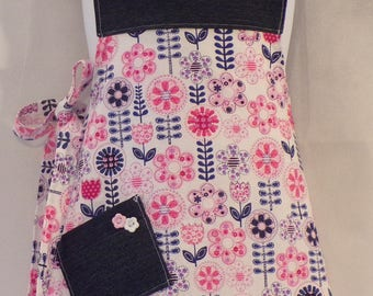 Girl's Denim and Pink Apron
