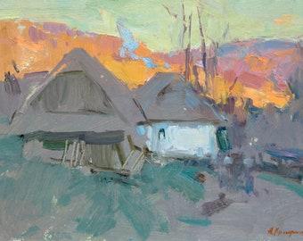 Landscape Evening, Quiet evening, Oil on Canvas, Traditional Painting, Realism, Impressionism, Pleinair