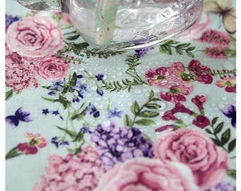 Laminated Cotton Fabric - Roses - Mint - By the Yard 90432
