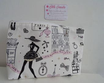 Large makeup Paris fabric jewelry pouch