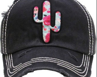 Floral Cactus Distressed Black Hat