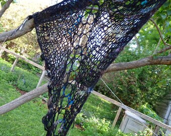 Skullflower handspun handknit triangle shawl with fringe and crocheted flowers