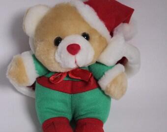 Vintage Christmas Bear, Vintage Plush, Christmas Ornaments, Christmas Bear, Retro Bear, Vintage Bear, Christmas Plush, Christmas Toys