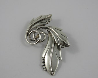Sterling Silver Mexican Leaf Brooch