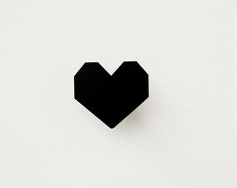 Black Wall Hook, Heart Wall Hooks, Modern Hooks - Metalya Design Wall Decor