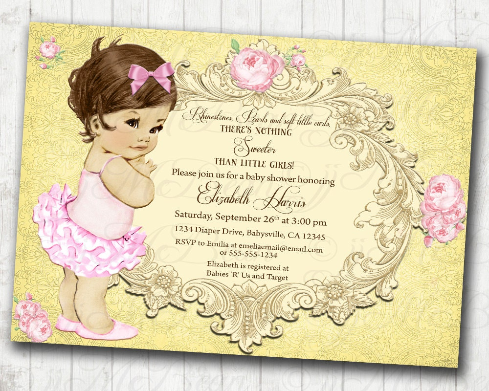 Girl Baby Shower Invitation Floral Vintage Invitation For