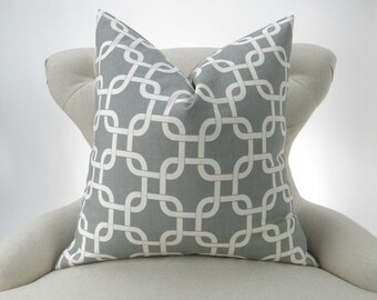 Big Pillow, Euro Sham, Floor Pillow, 24x24, 26x26, 28x28, gray and off-white pillow, chain link, Gotcha Summerland Premier Prints, FreeShip