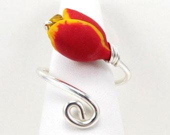Red Tulip Adjustable Silver Wrap Ring - Tulip Jewelry, Red Flower Ring, Spring Flower Jewelry, Mother Gift Idea