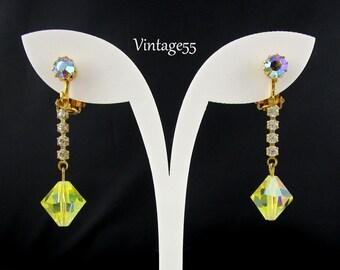 Earrings Yellow Rhinestone Drop