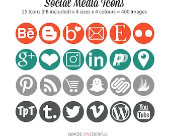 Social Media Icons, Round Social Graphics, Social Media Buttons, Social Media Images, Orange Teal Gray, Social Media Links, Icons for Blogs