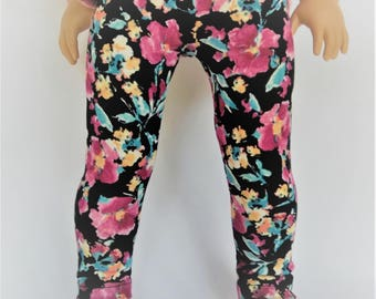 18 inch doll leggings, black, pink, floral, fits American Girl dolls