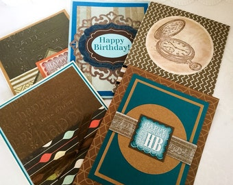 Masculine Birthday cards - pick your card - embossed - brown colors - card for husband - dads birthday - boyfriend - Handmade cards - Wcards