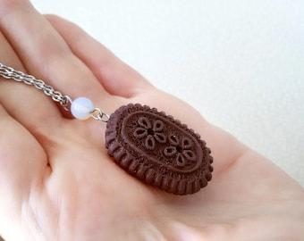 Cookie necklace Dessert jewelry Dark Chocolate pendant Biscuit necklace MIniature Food jewelry Cookie Charm necklace Sweet jewelry gift