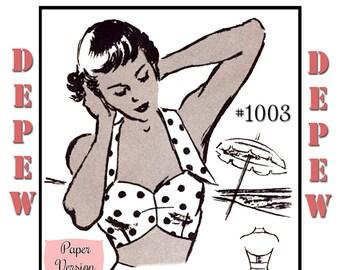 Vintage Sewing Pattern 1950's Beach Bra Halter Top Multi Size Depew 1003 -PAPER VERSION-