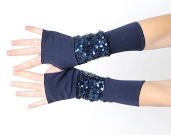 Dark blue jersey armwarmers with shiny sequins, Navy blue fingerless gloves, Party wear, Womens accessories, MALAM