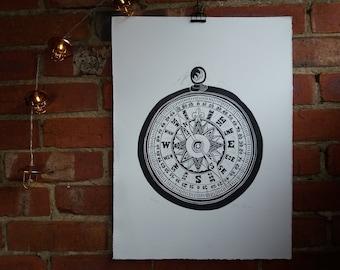 Compass - Linocut