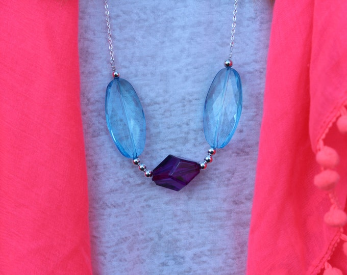 Long Statement Necklace in Blue and Purple.
