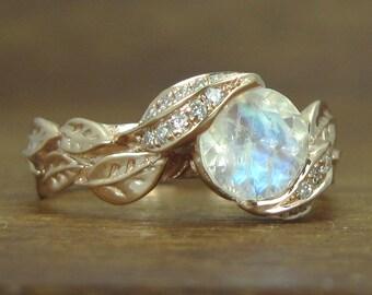 Unique Moonstone Leaves Engagement Ring, Natural Leaves Ring With Moonstone, Rose Gold Moonstone Leaf Ring, Rose Gold Leaves Ring, Rose Gold