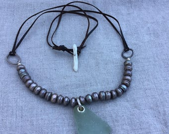 Sea Glass and grey circle pearl necklace